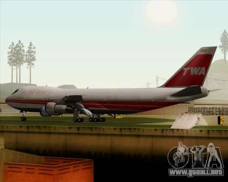 Boeing 747-100 Trans World Airlines (TWA) para vista inferior GTA San Andreas