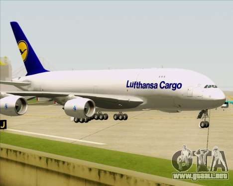 Airbus A380-800F Lufthansa Cargo para la vista superior GTA San Andreas
