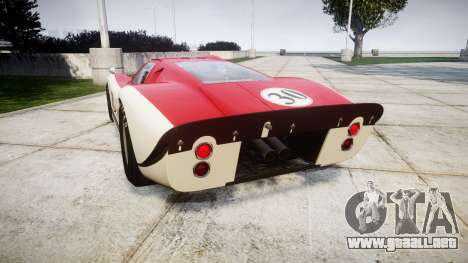 Ford GT40 Mark IV 1967 PJ Meyer 30 para GTA 4 Vista posterior izquierda