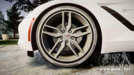 Chevrolet Corvette C7 Stingray 2014 v2.0 TireKHU para GTA 4 vista hacia atrás
