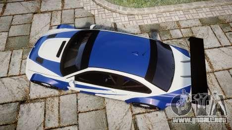 BMW M3 E46 GTR Most Wanted plate NFS Pro Street para GTA 4 visión correcta