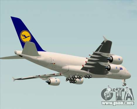 Airbus A380-800F Lufthansa Cargo para vista inferior GTA San Andreas