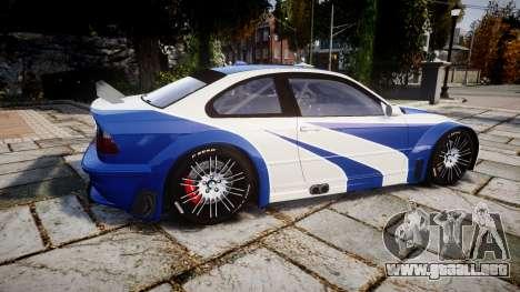 BMW M3 E46 GTR Most Wanted plate NFS Pro Street para GTA 4 left