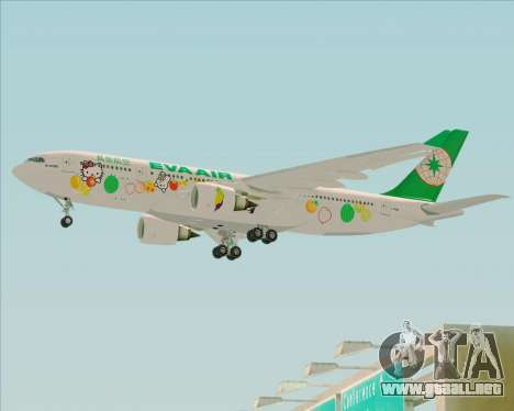 Airbus A330-200 EVA Air (Hello Kitty) para GTA San Andreas vista posterior izquierda