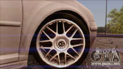 Volkswagen Golf Mk4 GTI para GTA San Andreas vista posterior izquierda
