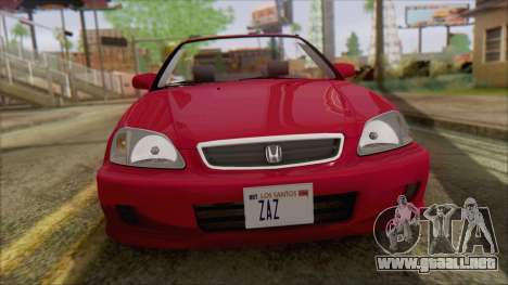 Honda Civic 2000 para GTA San Andreas vista posterior izquierda
