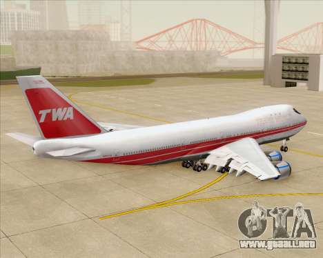 Boeing 747-100 Trans World Airlines (TWA) para la vista superior GTA San Andreas