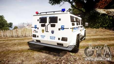 SWAT Van Police Emergency Service para GTA 4 Vista posterior izquierda