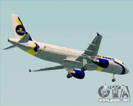 Airbus A320-200 Jet Airways para GTA San Andreas vista hacia atrás
