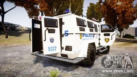 SWAT Van Police Emergency Service [ELS] para GTA 4 Vista posterior izquierda