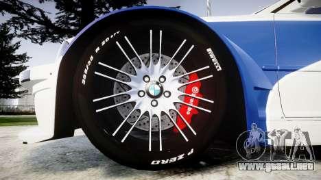 BMW M3 E46 GTR Most Wanted plate NFS Pro Street para GTA 4 vista hacia atrás