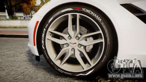 Chevrolet Corvette C7 Stingray 2014 v2.0 TireYA1 para GTA 4 vista hacia atrás