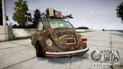 Volkswagen Beetle rust para GTA 4 Vista posterior izquierda