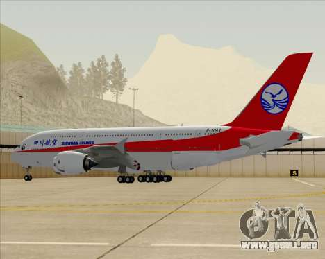 Airbus A380-800 Sichuan Airlines para vista inferior GTA San Andreas