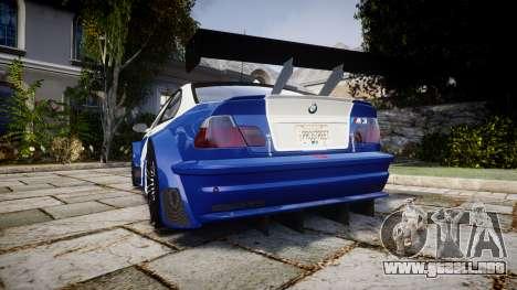 BMW M3 E46 GTR Most Wanted plate NFS Pro Street para GTA 4 Vista posterior izquierda