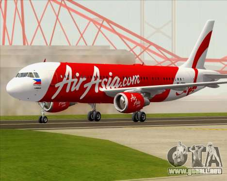 Airbus A320-200 Air Asia Philippines para GTA San Andreas left