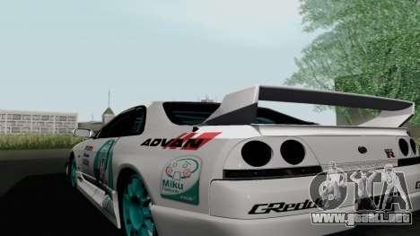 Nissan Skyline GT-R33 para GTA San Andreas vista posterior izquierda