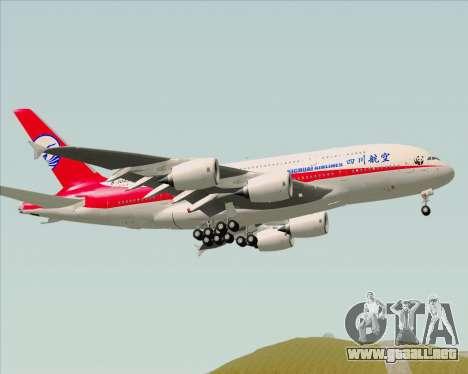 Airbus A380-800 Sichuan Airlines para GTA San Andreas vista hacia atrás