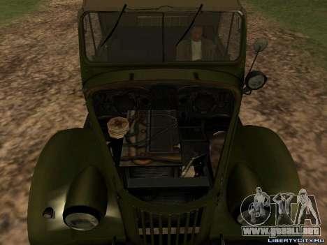 GAZ-69 para GTA San Andreas vista hacia atrás
