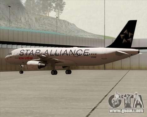 Airbus A320-200 Air India (Star Alliance Livery) para GTA San Andreas vista posterior izquierda