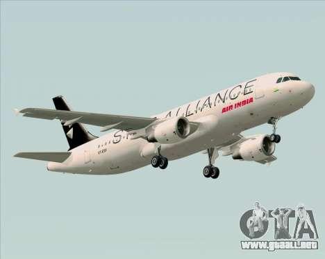 Airbus A320-200 Air India (Star Alliance Livery) para GTA San Andreas vista hacia atrás