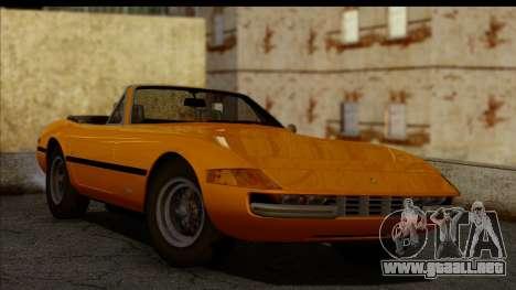 Ferrari 365 GTS4 Daytona (US-spec) 1971 para GTA San Andreas vista posterior izquierda