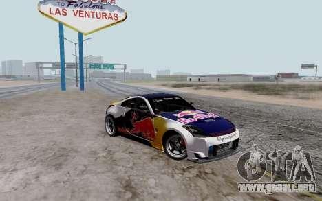 Nissan 350Z Red Bull para GTA San Andreas vista posterior izquierda