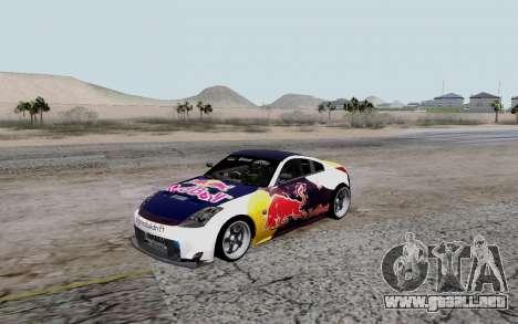 Nissan 350Z Red Bull para GTA San Andreas vista hacia atrás