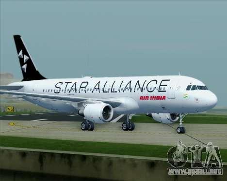 Airbus A320-200 Air India (Star Alliance Livery) para la vista superior GTA San Andreas