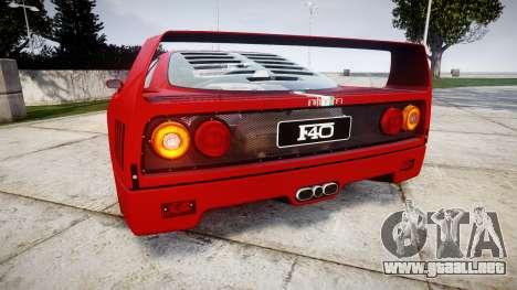 Ferrari F40 1987 [EPM] Tricolore para GTA 4 Vista posterior izquierda