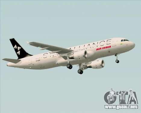 Airbus A320-200 Air India (Star Alliance Livery) para las ruedas de GTA San Andreas
