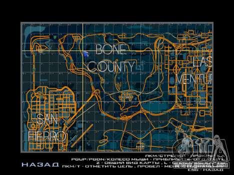 Mapa con los sectores de estilo de carreras para GTA San Andreas tercera pantalla
