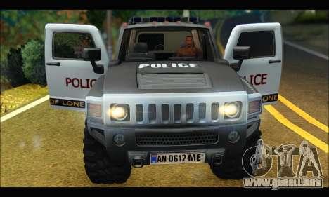 Hummer H3 Police para GTA San Andreas vista hacia atrás