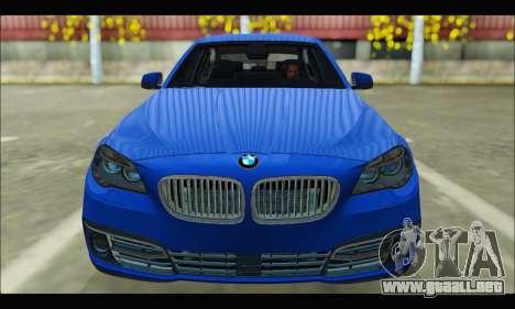 BMW 5 series F10 2014 para GTA San Andreas vista hacia atrás