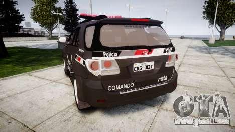 Toyota Hilux SW4 2015 ROTA [ELS] para GTA 4 Vista posterior izquierda