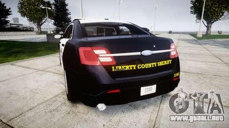 Ford Taurus 2014 Sheriff [ELS] para GTA 4 Vista posterior izquierda