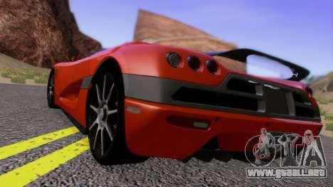 Koenigsegg CCX 2006 Road Version para GTA San Andreas vista posterior izquierda