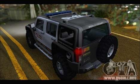 Hummer H3 Police para GTA San Andreas vista posterior izquierda