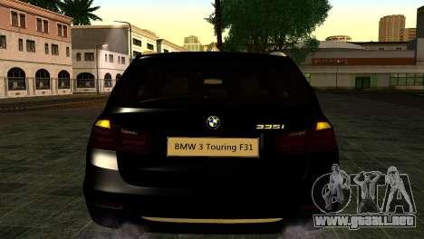 BMW 3 Touring F31 2013 1.0 para GTA San Andreas vista hacia atrás