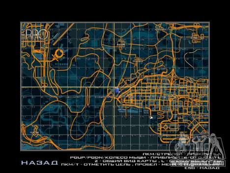 Mapa con los sectores de estilo de carreras para GTA San Andreas segunda pantalla
