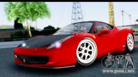 Ferrari 458 Italia Stanced para GTA San Andreas vista posterior izquierda