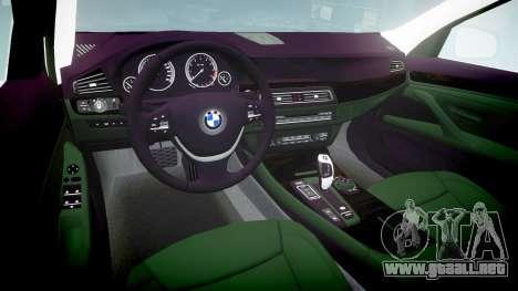 BMW 525d F11 2014 Facelift Civilian para GTA 4 vista interior