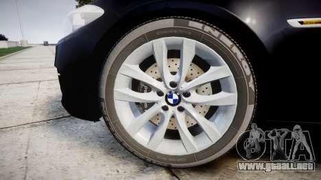 BMW 525d F11 2014 Facelift Civilian para GTA 4 vista hacia atrás