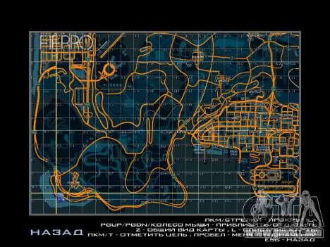 Mapa con los sectores de estilo de carreras para GTA San Andreas sucesivamente de pantalla