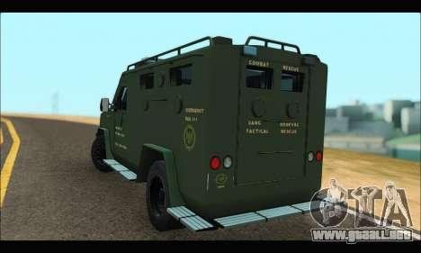 Lenco Bearcat SANG MedEvac 2009 para GTA San Andreas vista posterior izquierda