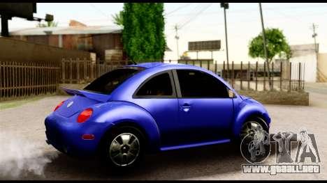 Volkswagen New Beetle para GTA San Andreas vista posterior izquierda