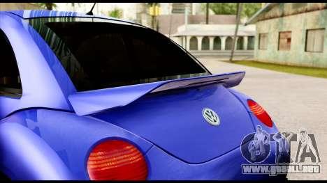 Volkswagen New Beetle para GTA San Andreas vista hacia atrás