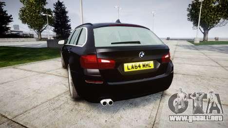 BMW 525d F11 2014 Facelift Civilian para GTA 4 Vista posterior izquierda