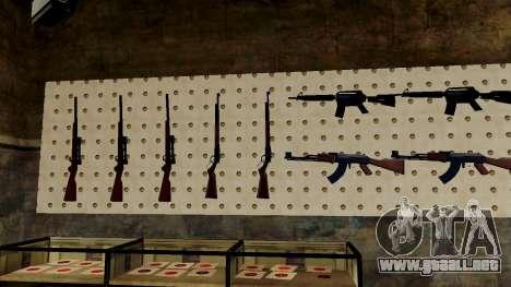 Modelos 3D de armas en Ammu-nation para GTA San Andreas octavo de pantalla