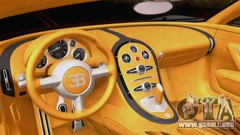Bugatti Veyron Grand Sport Sang Bleu 2008 para GTA San Andreas vista hacia atrás